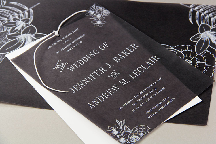 Black vellum invitation design ideas chic contemporary black and white wedding invitation with black vellum overlay tied on with twine filmwisefo