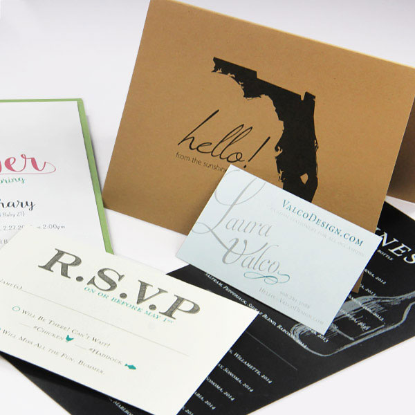 Standard and custom cut blank card sizes for making invitations, note cards, business cards, menus, and more