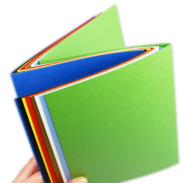 array of colorful blank z-fold tri-fold cards