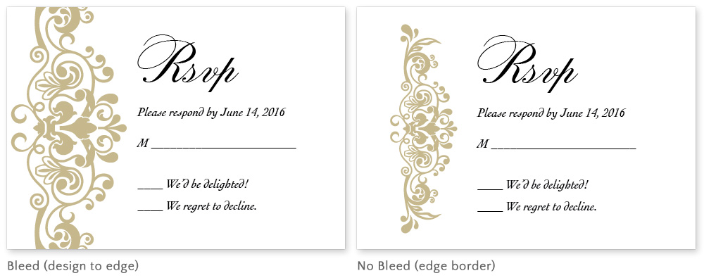 What is a bleed? Difference between cards designed with and without bleeds