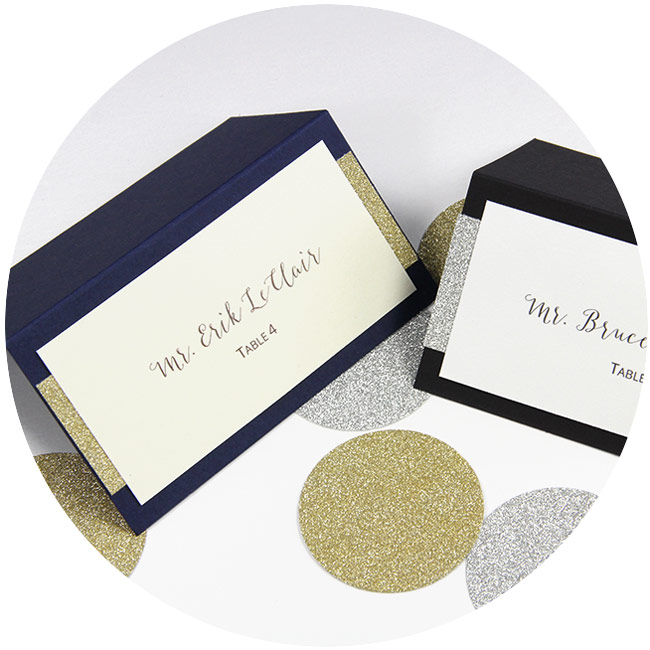 DIY layered glitter place cards. Free print templates and instructions in post on LCIPaper.com. Make with any papers or colors.