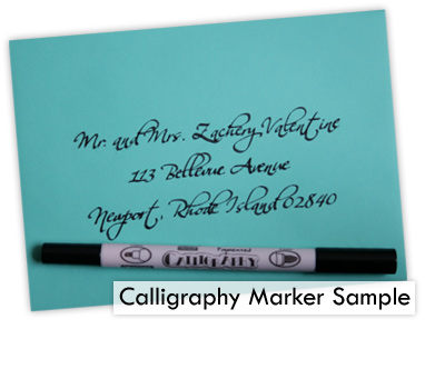 blue wedding envelope calligraphy marker addressed