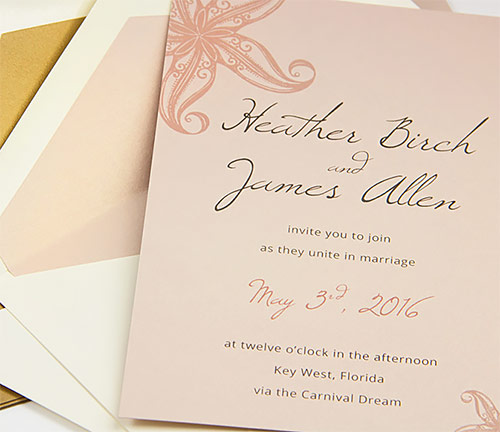 Metallic blush beach invitation with matching metallic blush lined envelope