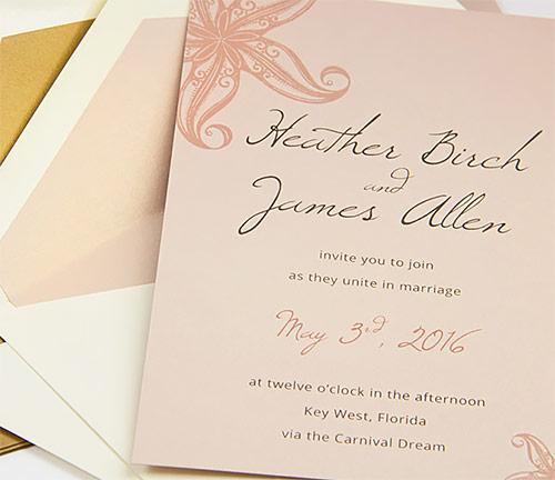 Metallic blush beach invitation with matching metallic blush lined envelope