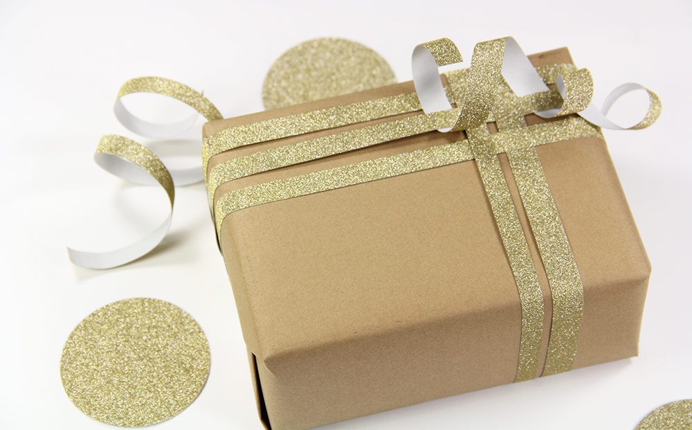 Gift box embellished with MirriSPAKLE glitter paper