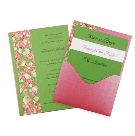 Layered pocket card DIY bridal shower invitation
