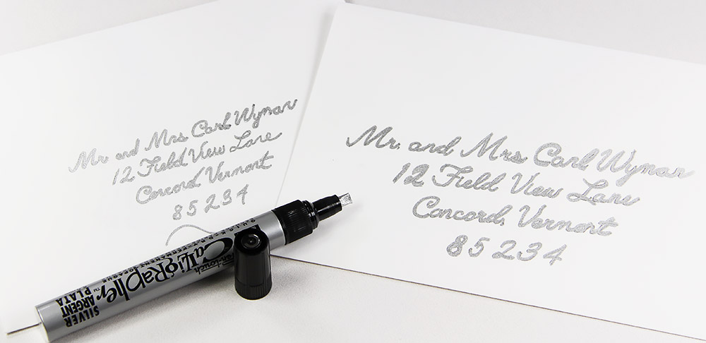 Cotton envelopes tested with silver calligraphy marker