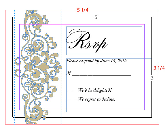 inDesign file of reply card with 1/8 inch bleed