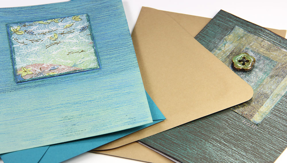 Japanese linen cards by Kalli Halpern with matching colorful envelopes