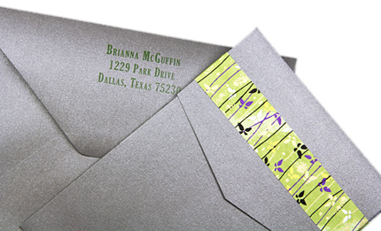 charcoal metallic pocket with matching envelopes
