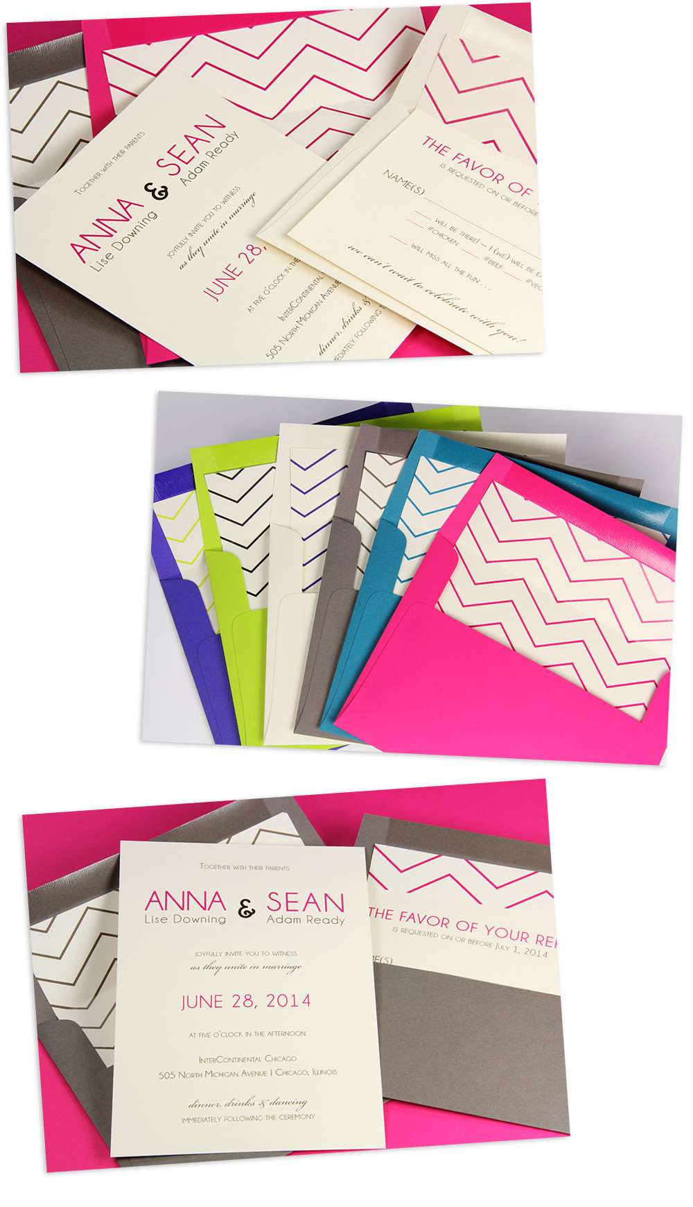 modern wedding invitations with matching chevron envelopes