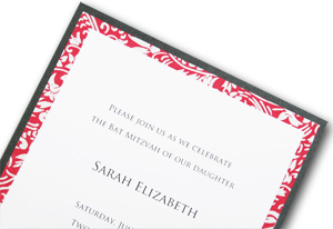 charcoal, pink, and white layered bat Mitzvah invitation