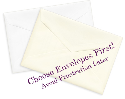 White and ecru wedding envelopes - choose envelopes first