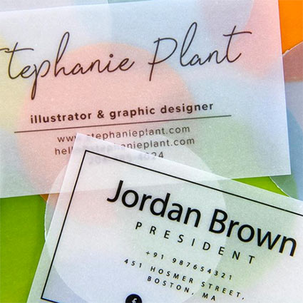 Vellum business cards made using heavyweight clear translucent vellum paper
