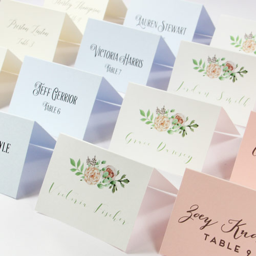 Colorful, printable, perforated name cards. Customize with own fonts, graphics