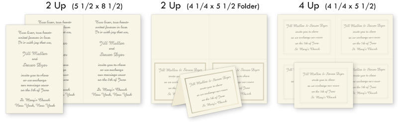 Computer printable 2 up & 4 up invitations