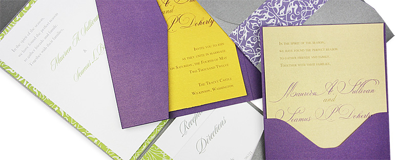 Curious Metallics invitation pockets and wraps