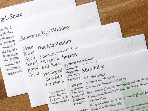Letterpress napkins by Curly Head Press