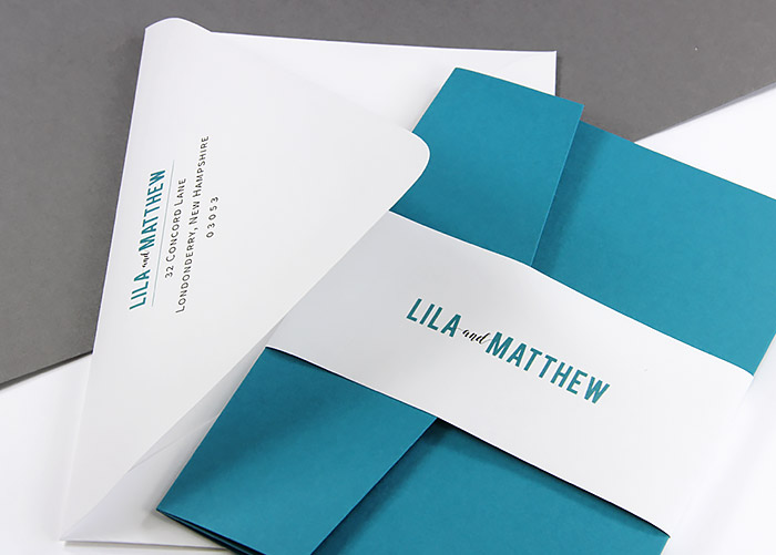 Custom invitation band made with Gmund Colors Matt wedding white text paper