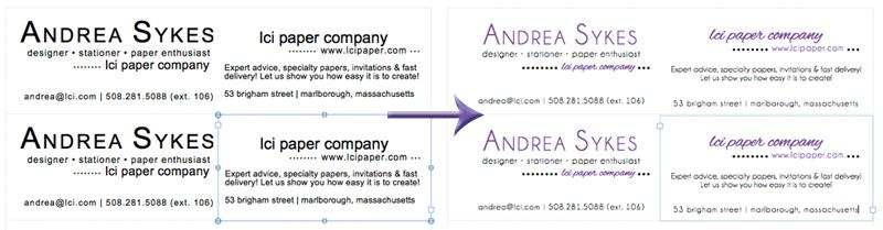 customize business card text