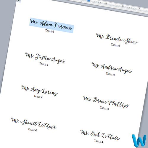 Customize layered place cards in Microsoft Word. Print template and cutting guidelines in post