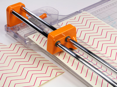 cut chevron printed liners with paper trimmer