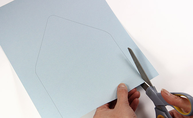 Cut euro flap envelope liner template out using outlines as guidelines