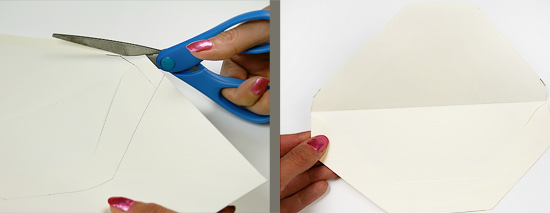 Cut the shape of the envelope liner template from identical envelope