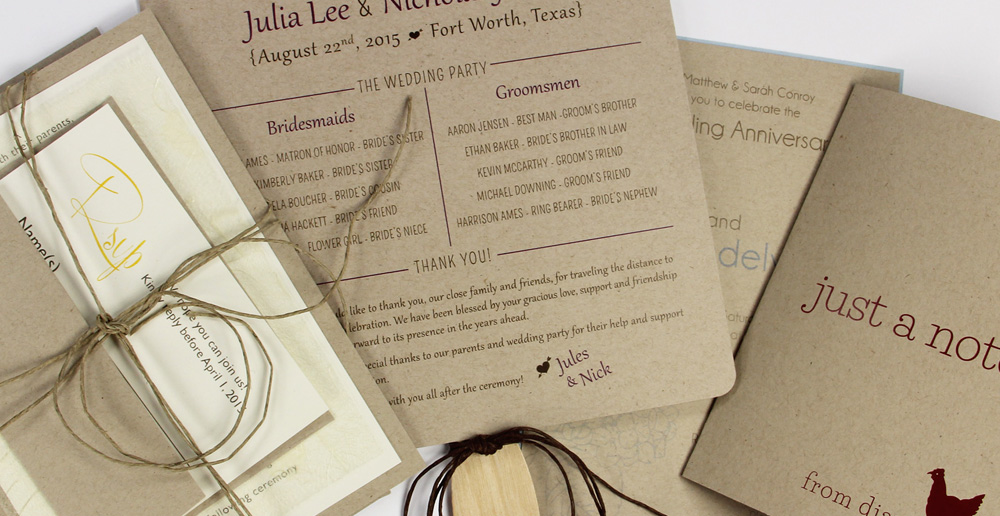 Wedding stationery and note cards made with Neenah Environment kraft paper in Desert Storm