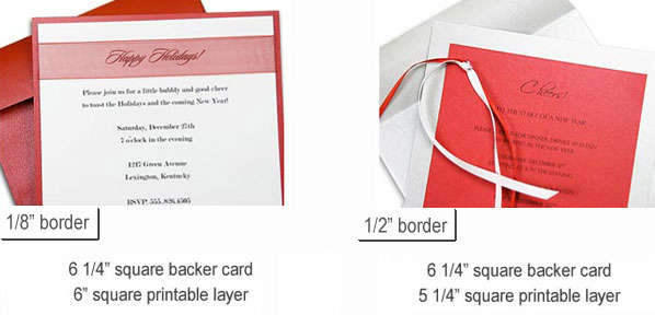 6 1/4 inch square backer cards with 6 inch square and 5 1/4 inch square top layers