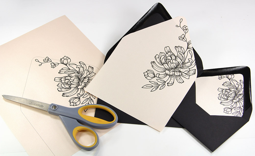 DIY lined euro flap envelopes. Download free euro flap liner outline templates, print on any 8 1/2 x 11 paper, cut.
