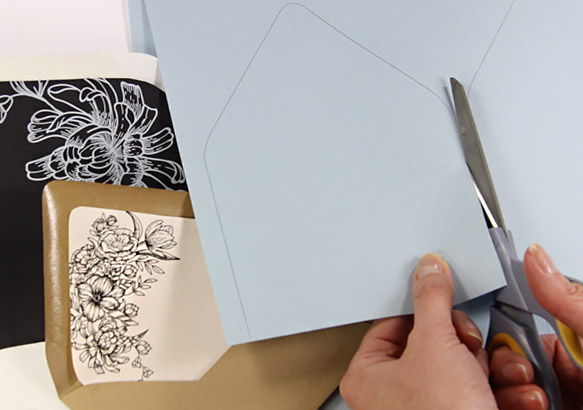 Free printables - euro flap envelope liner templates. Print on 8  1/2 x 11 paper and cut