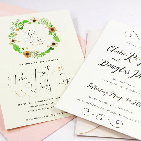 Use blank card print templates to print wedding invitations at home