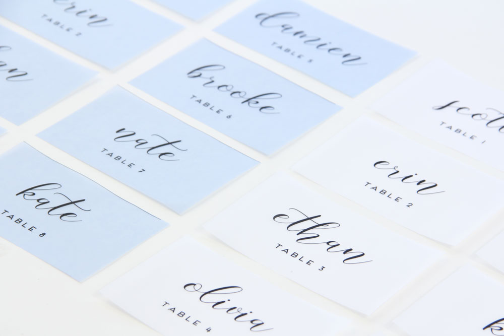 Templates and instructions to make your own vellum place cards