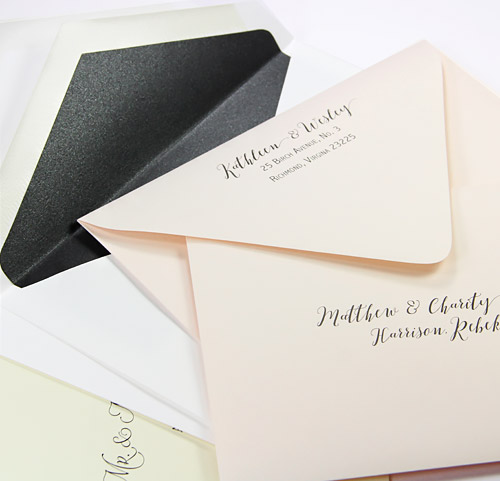 Traditional and modern euro flap double wedding envelope sets