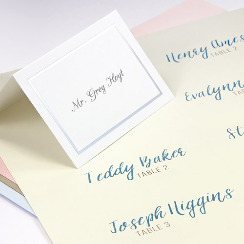 Easy print multi up seating cards in flat and folding formats and traditional colors