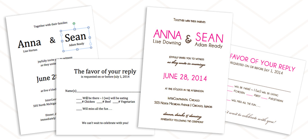 Edit invitation and rsvp print templates
