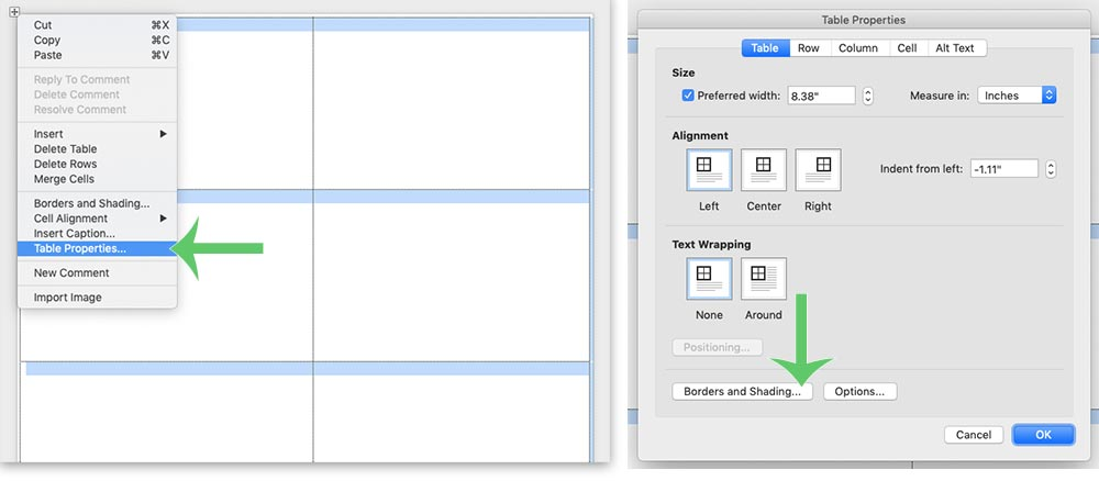 How to edit table borders in Microsoft Word. Free wedding place card template shown here.