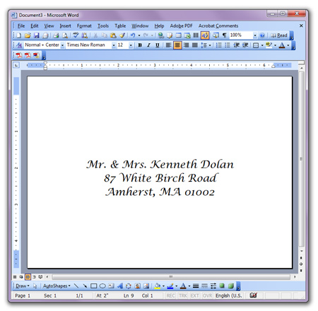 Word envelope address