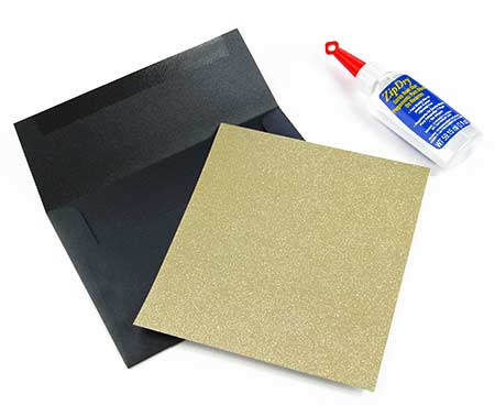 Line your own envelopes with pre-cut glitter liner paper