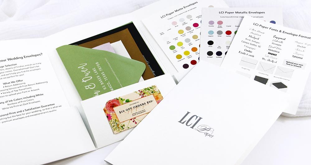 Order envelope addressing sample kit from LCI Paper. Includes several printed and addressed samples, white ink printed samples, coupon for order. Great tool for brides and invitation designers