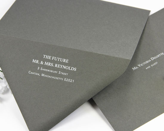 Charcoal euro flap double wedding envelopes printed in white