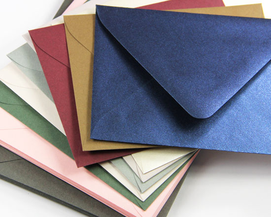 Euro flap, deep neck envelopes in 50+ colors and finishes from LCI Paper. Order blank or printed.