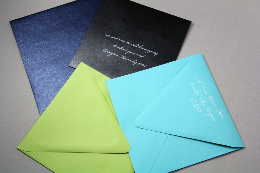 Square envelopes featuring a long euro style flap and white ink printing