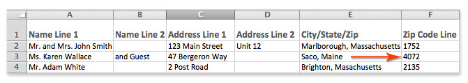 Excel spreadsheet with missing zip code zeros