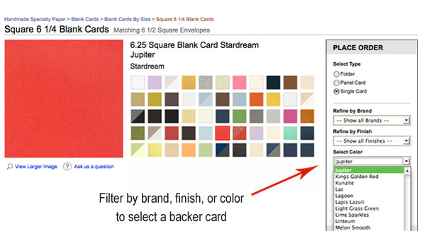 filter by color, brand, and finish to select blank invitation card
