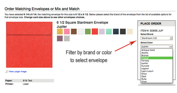 filter by color, brand, to select invitation envelope