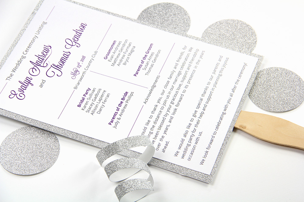 make your own glitter layered wedding program fan