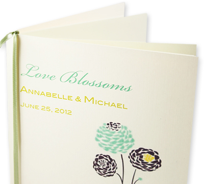 Modern floral design wedding program with insert sheets