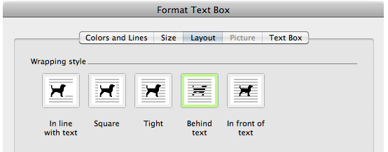 format image or text box layout to behind text in word